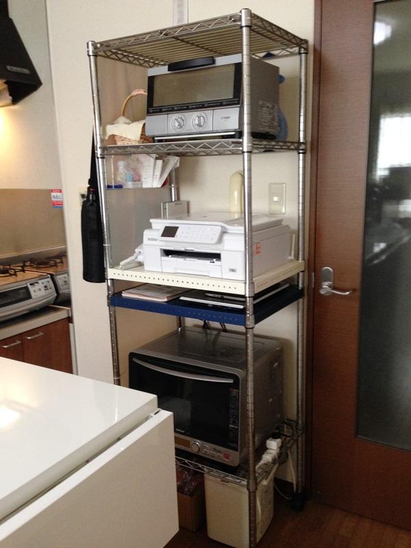 キッチン家電収納に適したスチールワイヤーシェルフ