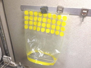 冷凍保存袋を乾かしている状態