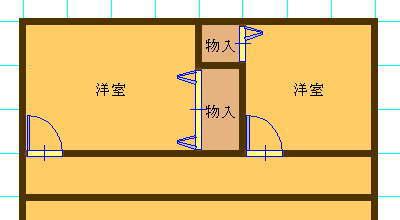 よくある間取り(6畳間と4畳半の間に収納スペース)