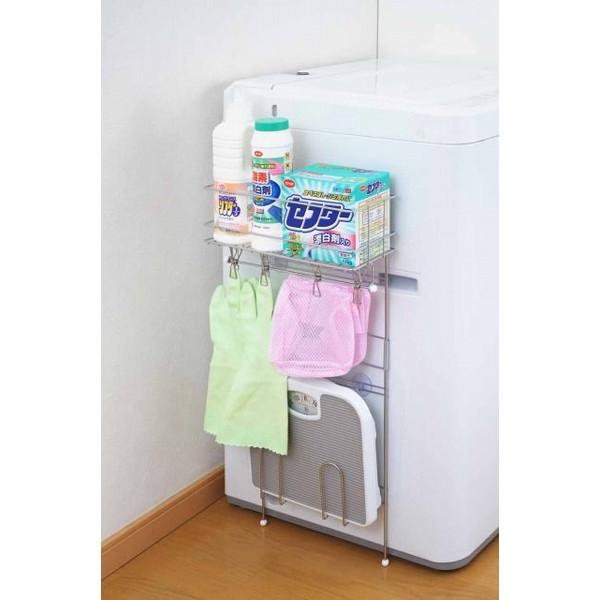 ヨシカワ 洗濯機サイドラック ピンチハンガー付き
