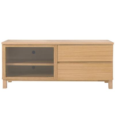 テレビ台として無印良品の「木製AVラック」にテレビを設置