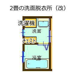 出入り口の位置を変えた2畳の洗面脱衣所
