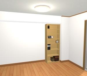 背の高いナチュラル色の書棚を置いた場合