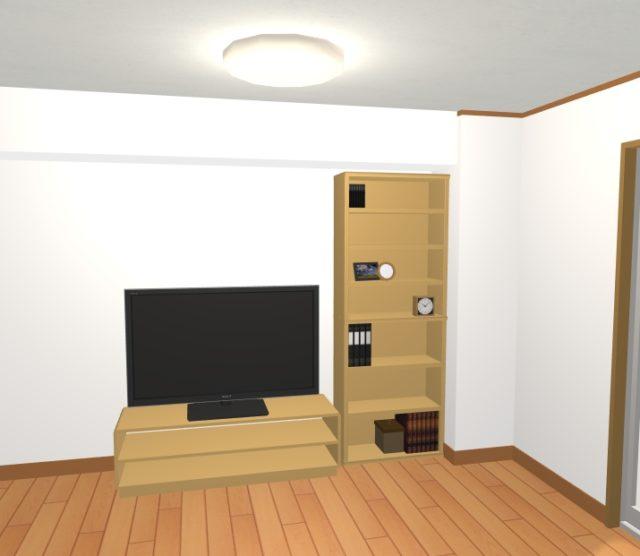 背の高いナチュラルの棚の横にTVボードを設置