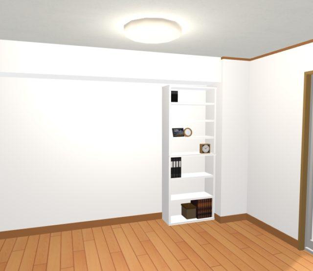 背の高いホワイト色の書棚を置いた場合