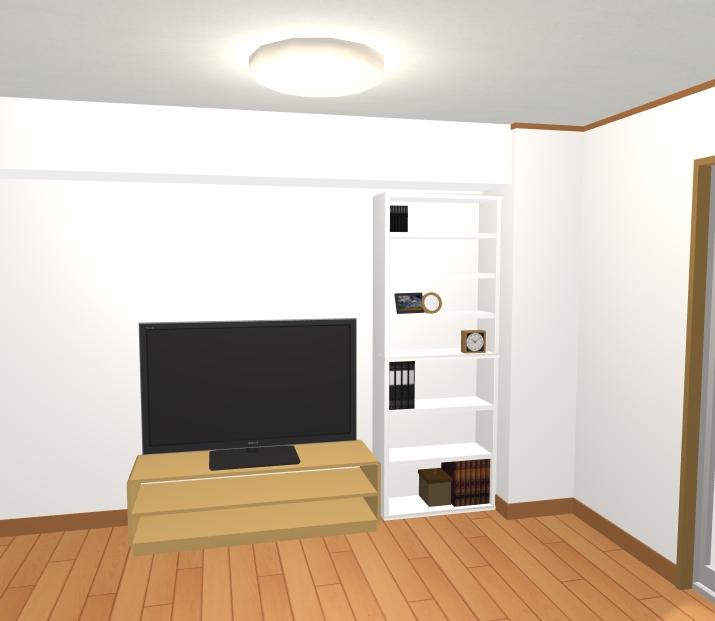 背の高いホワイトの棚の横にTVボードを設置