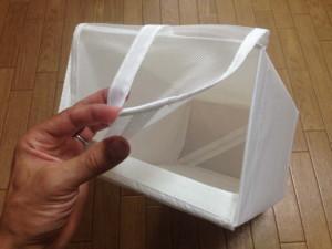 IKEAのSKUBBシューズボックスはメッシュのフラップ扉に持ち手が付いている