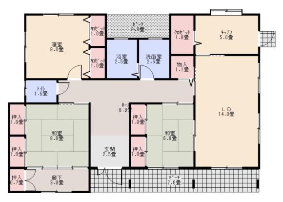 造り付けの収納スペースが多い家の間取り(例)