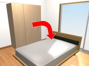 ベッドの横のワードローブが倒れてきた場合を想定