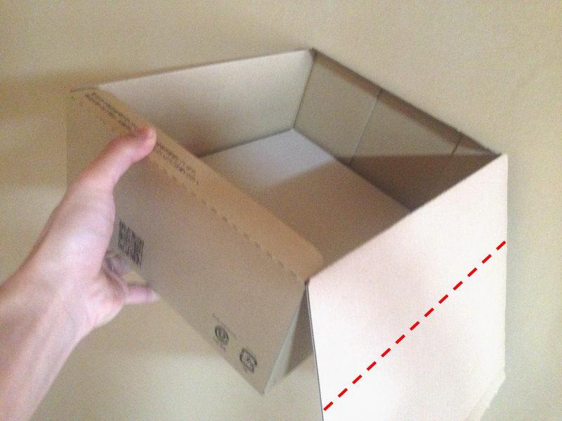 XM03サイズのフタを開いて不要な部分を切り落とす