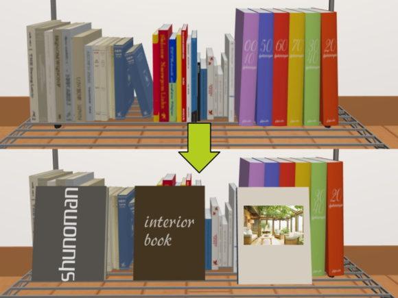 お気に入りの本を立て掛けて並んだ本を隠す