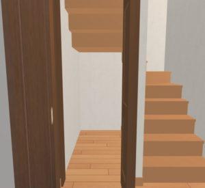 奥行が深くて奥側の天井が低い階段下収納