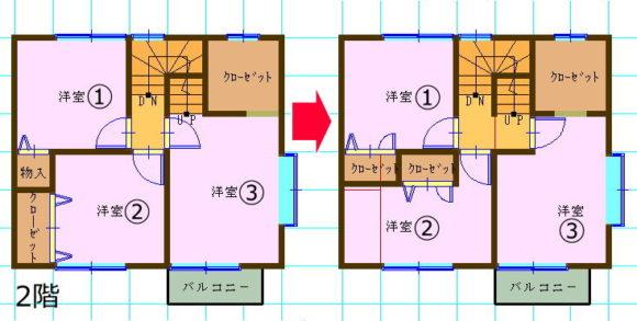 ドアの位置を変えて屋根裏収納へのアプローチがスムーズに