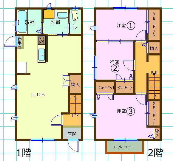 テラスハウス(3LDK/徳島県徳島市)