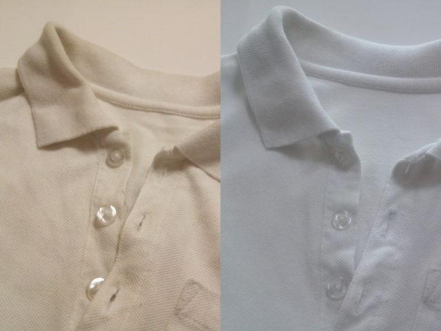 60℃除菌コースで洗ったポロシャツ比較