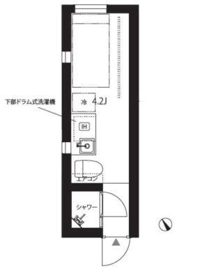早稲田駅徒歩7分・4.2畳で家賃58000円