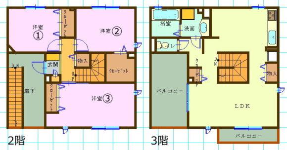 メゾネットタイプ賃貸集合住宅(3LDK/鳥取県米子市)