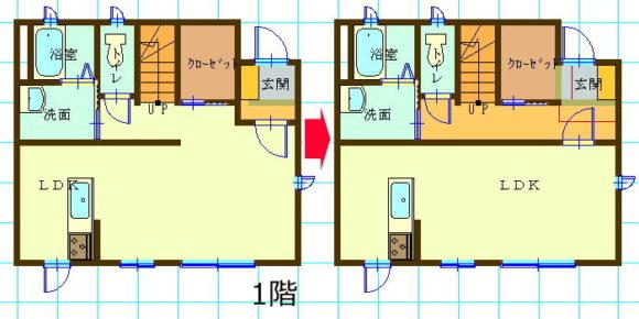 玄関横のWCLを玄関からもアプローチ可能なシューズクローゼットに