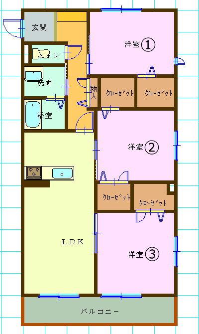 賃貸集合住宅(3LDK/愛媛県松山市)