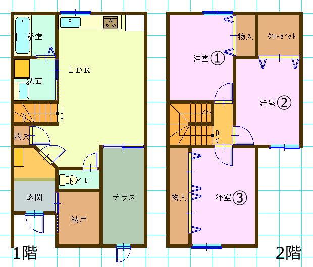 テラスハウス(3LDK/島根県松江市)