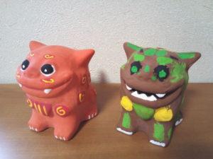 シーサーの色付け体験で作った子供たちの作品