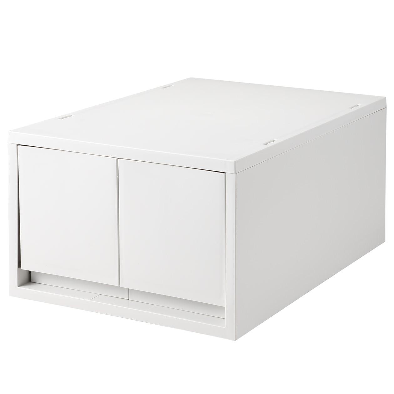 無印良品・ポリプロピレンケース・引出式・深型・2個(仕切付)・ホワイトグレー