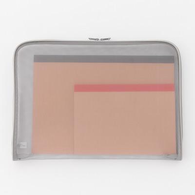 無印良品・ナイロンメッシュ書類ケース A4・グレー・約35×25×2cm