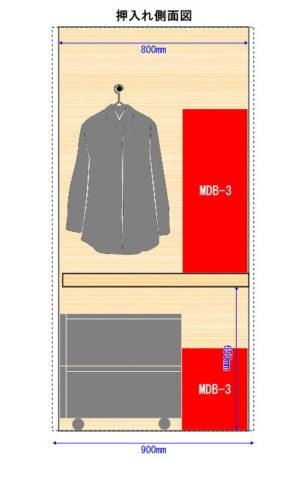 モジュールボックスを設置した場合の押入れ側面図