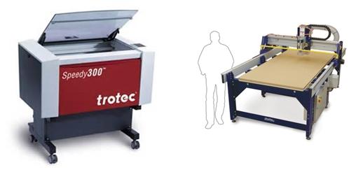 CAINZ工房のレーザー加工機と大型CNCルーター
