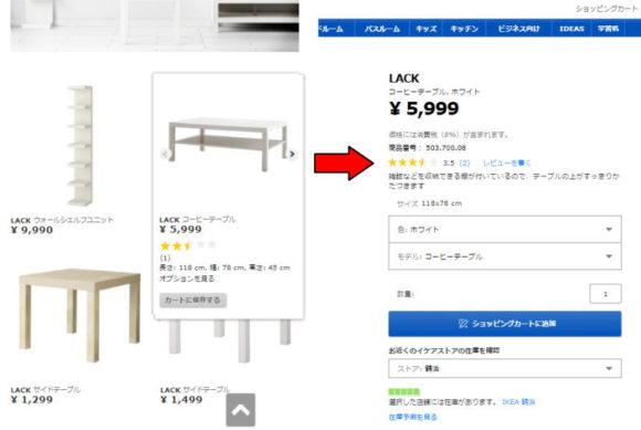 IKEA・LACK コーヒーテーブルのレビューの例