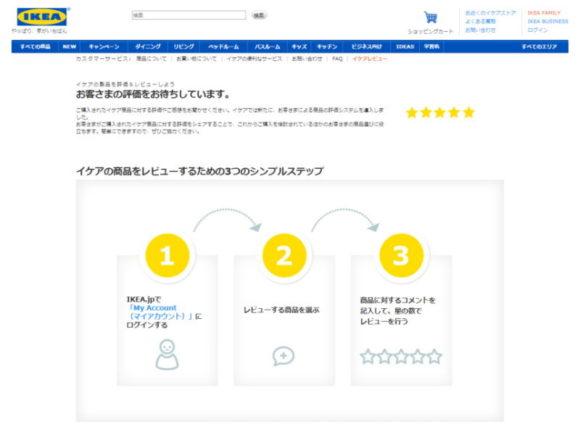 イケアのレビュー機能 ホームページスクリーンショット