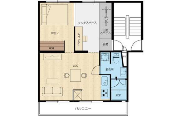 無垢床が気持ち良い広々リビングのある家@茶山台団地リノベ45