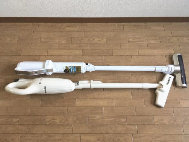 (上)アイリスオーヤマ「極細軽量スティッククリーナーIC-SLDC4」、(下)マキタ「充電式クリーナー「CL100DW」