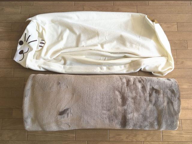 コストコの毛布を巻いて、「ふとんdeクッション」に入れてみる