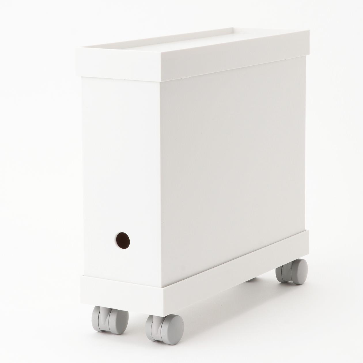 無印良品・ポリプロピレンファイルボックススタンダード用キャスターもつけられるフタ 幅10cm用・ホワイトグレー