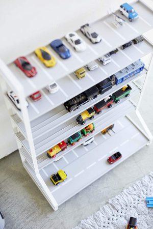 山崎実業・ミニカー&レールトイラック ホワイト 約W51XD24XH65cm タワー コレクションスタンド 両面仕様 5018