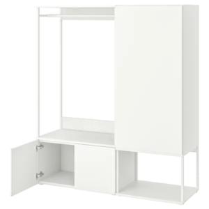 IKEA・PLATSA・ワードローブ 扉3枚付き, ホワイト, フォッネス ホワイト, 140x42x161 cm