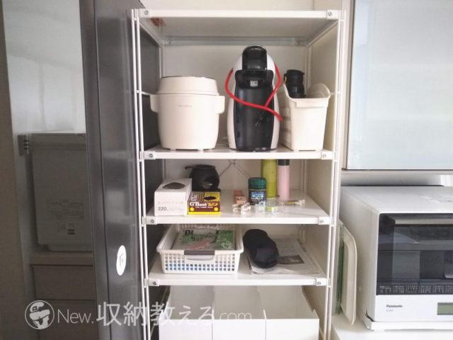 キッチンに置いた無印良品のスチールユニットシェルフ