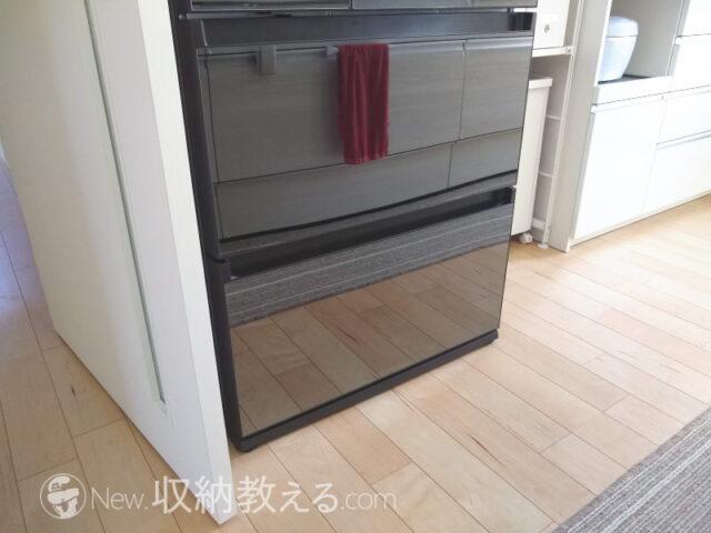 鏡面の冷蔵庫の前が掃除できない