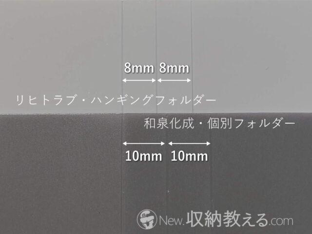 セリア(和泉化成)・個別フォルダーとリヒトラブ・ハンギングフォルダーのマチの長さの比較