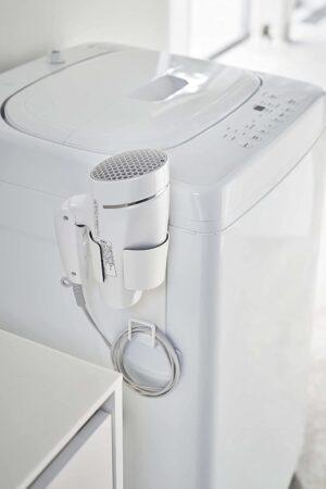 山崎実業・マグネット ドライヤーホルダー ホワイト 約W10XD10.5XH20cm タワー コードもスッキリ収まる 5391