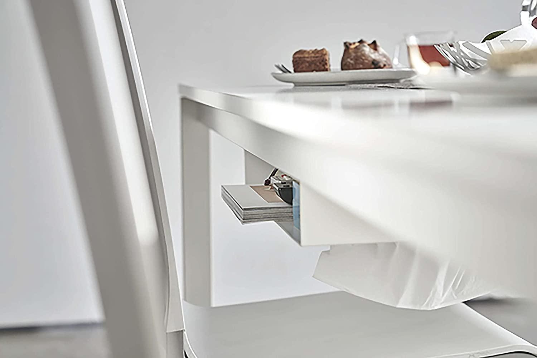 山崎実業(Yamazaki) テーブル下 収納ラック ホワイト 約W44XD25XH7.2cm タワー ティッシュ リモコン 一括収納 5481