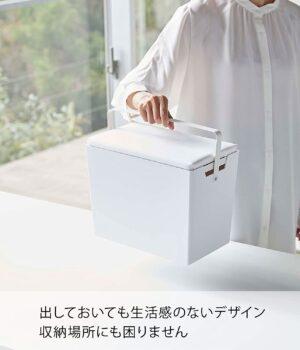 山崎実業(Yamazaki) アイロン掛けできる 蓋付き アイロン収納ケース ホワイト 約W33XD20.5~20XH26~31(ハンドル含む)cm タワー 持運びできる ハンドル付き 5457