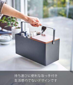 山崎実業(Yamazaki) メイクボックス ブラック 約W31XD15(取っ手含む)XH15.5cm タワー 持運びできる ハンドル付き 5454