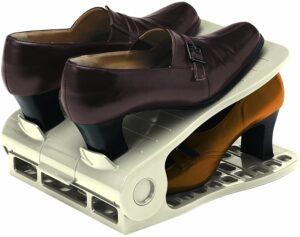 サンコープラスチック 靴棚 シューズストッカー ダブル 2個組 グレー